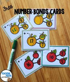 FREE Fall Theme Number Bond Activity - perfect to practice addition and subtraction. Kindergarten and first grade. Fun Math, Math Games, Math Activities, Maths Resources, Math Math, Second Grade Math, Grade 2, Third Grade, Math Stations