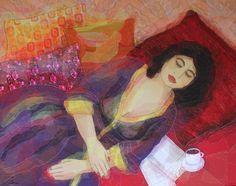 Nicole Ladrak, Weekend, Schilderij van textiel, 95x120 cm, €.950,-