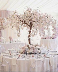 Tree Centrepiece Wedding, Outdoor Wedding Decorations, Centrepieces, Cherry Blossom Centerpiece, Cherry Blossom Theme, Blossom Tree Wedding, Blossom Trees, Diamond Wedding Theme, Blush Wedding Theme