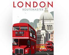 Tarjeta de felicitación Londres Routemaster, Travel Art, Londres