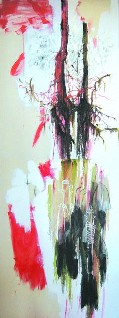 comprender. medios mixtos sobre lienzo. 260 x 80 cm