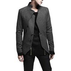 Men Slim Fit Worsted Long Sleeve Lined Jacket Coat