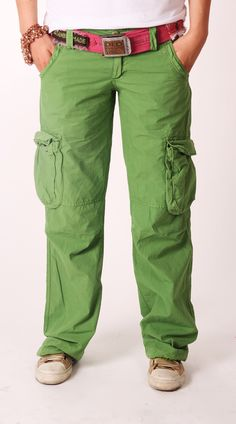 Old Cotton Cargo Woman Cargo Pants Green    Old Cotton Cargo Bayan Kargo Pantolon Yeşil
