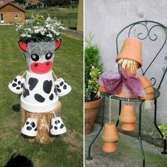 cow for casie Flower Pot People, Clay Pot People, Flower Pot Art, Flower Pot Crafts, Clay Pot Projects, Clay Pot Crafts, Terracotta Flower Pots, Painted Clay Pots, Outdoor Crafts
