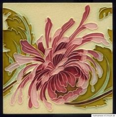 Original Art Nouveau tile - Chrysanthemum - Belgium C1900 by myra