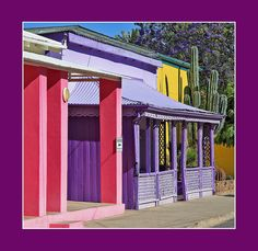Candy colored lodges in Graaff Reinet, Karoo, South Africa