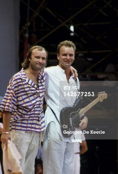 UNITED KINGDOM - JULY 13: WEMBLEY Photo of LIVE AID and STING and Phil COLLINS, w/ Sting at Live Aid (Photo by Peter Still/Redferns) 1985