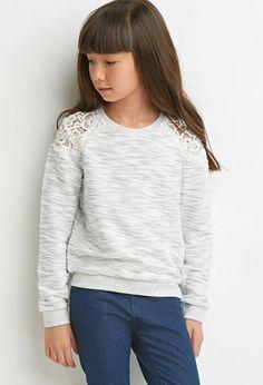 Crochet-Paneled Slub Knit Sweatshirt (Kids)   Forever 21 girls - 2000157082