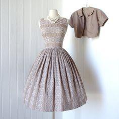 vintage 1950's dress PAT HARTLY ORIGINAL embroidered cotton full skirt with crinoline and bolero jacket