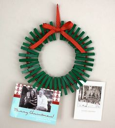 Clothes Pin Wreath- for Christmas craft/parent gift. can pin photos from each Christmas. Noel Christmas, Winter Christmas, Christmas Wreaths, Christmas Cards, Christmas Decorations, Christmas Ornaments, Handmade Christmas, Christmas Scrapbook, Simple Christmas
