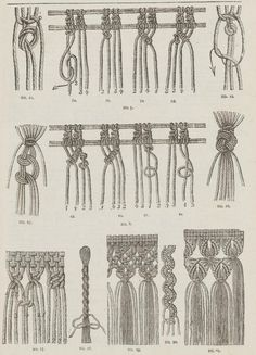 "Patterns of macrame.  From the public domain book ""Complete guide to the work-table : containing instructions in Berlin work, crochet, drawn-thread work, embroidery, knitting, knotting or macrame, lace, netting, poonah painting, & tatting, with numerous illustrations and coloured designs (1884)."":"