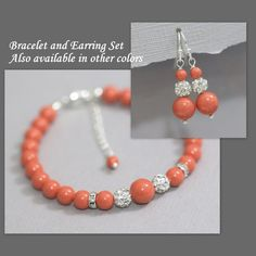 CUSTOM COLOR Swarovski Coral Pearl Bracelet and Earring Set, Bridesmaid Bracelet, Wedding Bracelet, Bridesmaid Gift, Maid of Honor Gift