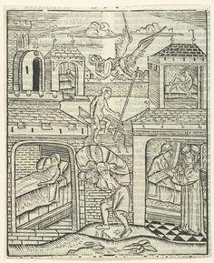 anoniem | Christus geneest de zieke van Bethesda, attributed to Master of Delft, 1480 - 1500 | Vier scènes over de de genezing van de zieke in Bethesda. Linksonder: de zieke man in bed. Rechtsonder: Christus geneest de man en gebiedt hem op te staan. Rechtsboven: de genezen man staat op van zijn bed. Midden: Engel roert het water en man neemt zijn bad. Man draagt zijn slaapmat.