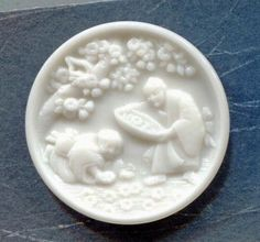 Large Gorgeous Victorian Milk Glass Picture Button Oriental Asian Flowers | eBay