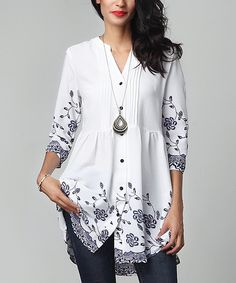 Look at this White Floral Chiffon Button-Down Pin Tuck Tunic on #zulily today!