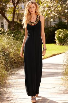 Boston Proper Beaded neckline maxi dress