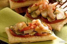 Folhado de legumes com camarões marinados