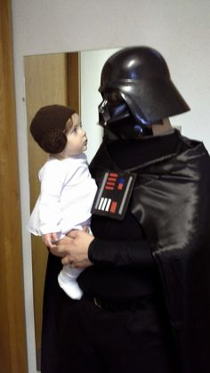 Fall Projects - Daddy Vader and Baby Leia, Homemade Star Wars costumes - Adult Darth Vader, Baby Princess Leia, and Adult Padme costumes. We had a lot of fun with these!