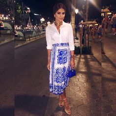 White & Blue mood! | #ootn #ThassiaStyle #ThassiaEuroSummer #Btviaja #LookOfNight | Saia @dolcegabbana