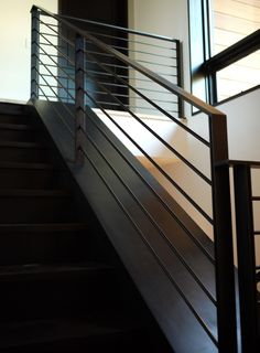 blackened metal stair and railing - can be exterior at decks AND interior stair Steel Railing, Iron Stair Railing, Steel Stairs, Metal Railings, Staircase Railings, Balcony Railing, Stairways, Stair Risers, Black Railing