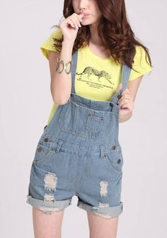 Women's revers hem wear out middle waist loose short braces straight denim overalls *_^
