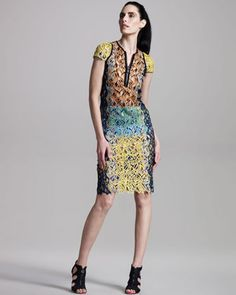 Front-Zip Lace Dress by Peter Pilotto at Bergdorf Goodman.
