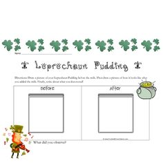FREE! Fern Smith's Leprechaun Pudding Directions and Science Observation Sheet! FREEBIE @ TPT!