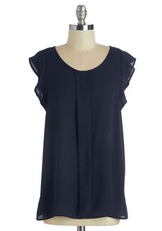 Always Approachable Top in Navy - Mid-length, Sheer, Woven, Blue, Solid, Work, Cap Sleeves, Scoop