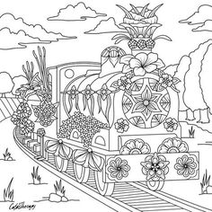 Train Check Out Our Delicate And Beautiful New Book Classic Floral Trees Transport Start Coloring With Color Therapy Today