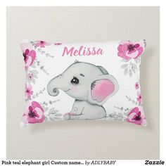 Shop Pink teal elephant girl Custom name Pillow created by ADLYBABY. Elephant Nature Park, Elephant Sanctuary, Elephant Love, Elephant Nursery, Teal Room Decor, Teal Rooms, Nursery Decor, Soft Pillows, Throw Pillows