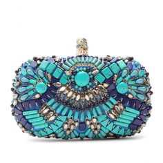 Emilio Pucci tonal blue, turquoise- and crystal-bead embellished box clutch with silver-toned eagle's head clasp.