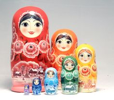 Rainbow Colored 7 piece Russian Wood Nesting Doll