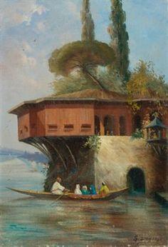 Oil painting of a Bosphorus yali by Turkish artist, Sevket Dag