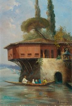 Oil painting of a Bosphorus yali by Sevket Dag