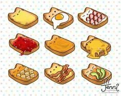 Cat toast is so cute! Cute Food Drawings, Cute Animal Drawings Kawaii, Cute Cartoon Drawings, Kawaii Doodles, Kawaii Art, Cute Food Art, Cute Art, Cute Cartoon Food, Dibujos Cute