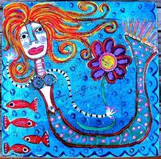 "A New Mermaid painting: ""WallFlower Friends""...mixed media on birch wood...."