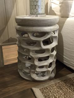 Cement side table, 26 H x 17.5 D - $550 each (two available)  Great inside or out!