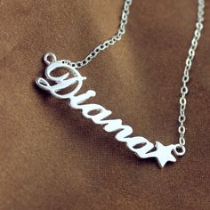Solid White Gold Carrie Style Name Necklace with Star