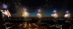 Fourth of July fireworks over the Hudson River in New York City. (Los Angeles Times.)