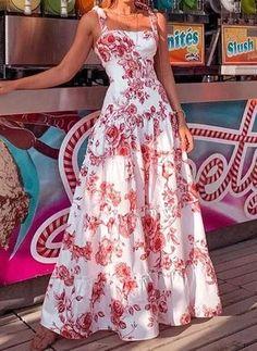 Mode Kpop, Plain Dress, White Dress, Robes Midi, Vacation Dresses, Vacation Wear, Vacation Style, Spaghetti Strap Dresses, Floral Maxi Dress