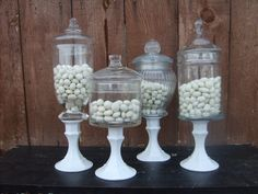 I love the idea of apothecary jars on pedestals.
