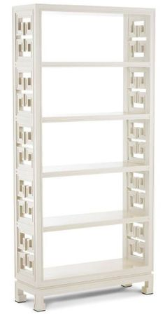 Lustrous white lacquer offsets the chic chinoise lines of our Radcliffe Étagère. Open shelves are decoratively flanked by our classic Greek key motif. A notched. Home Office, Office Decor, Office Ideas, Jonathan Adler, Bookcase Storage, Bookshelves, Wall Shelves, Shelving, Open Shelves