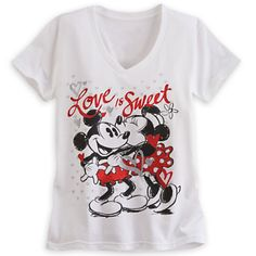 Mickey and Minnie Mouse V-Neck Tee for Women