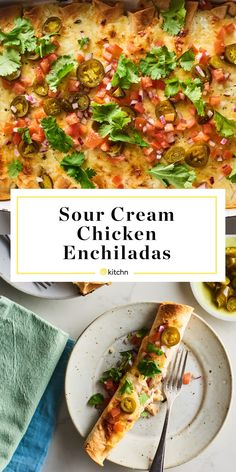 These rich and cheesy sour cream chicken enchiladas, which start with a rotisserie chicken to cut down on prep, are comfort food at its finest. Sour Cream Chicken, Sour Cream Sauce, Sour Cream Enchiladas, Chicken Enchiladas, Spicy Tomato Sauce, Quick Weeknight Meals, Rotisserie Chicken, Mexican Food Recipes, Mexican Dishes