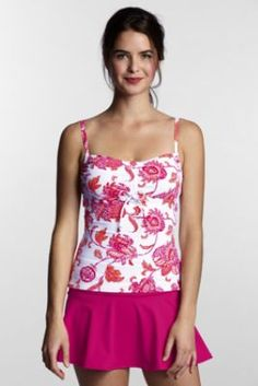 Women's Regular Beach Living Floral Adjustable Scoop Tankini Top from Lands' End