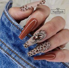May Nails, Dope Nails, Stylish Nails, Trendy Nails, Leopard Print Nails, Fall Acrylic Nails, Crazy Acrylic Nails, Fabulous Nails, Halloween Nails