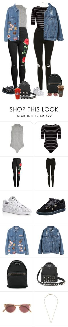 """Sip"" by audrey-balt ❤ liked on Polyvore featuring River Island, Topshop, adidas, Puma, MANGO, WithChic, STELLA McCARTNEY, Fendi, Oliver Peoples and PENNY LEVI"
