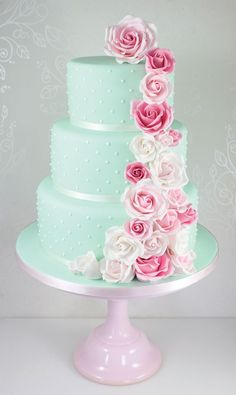 Pink Wedding Cakes Romantic wedding cake so you could match your bridesmaid dresses to your cake. - Planning a floral theme? You'll love these wedding cakes with flowers. Here are 15 of the best new designs for And some tips on how to make your own Mint Wedding Cake, Pretty Wedding Cakes, Wedding Mint Green, Floral Wedding Cakes, Wedding Cakes With Flowers, Wedding Cake Designs, Wedding Cake Toppers, Gold Wedding, Wedding Vows