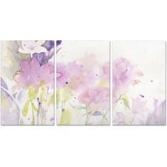 Trademark Fine Art Garden Pink Impressions Three 16 inch x 24 inch Panel Canvas Art Set by Sheila Golden, Multicolor