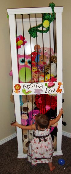 Holds tons of stuffed animals in not a lot of floor space - need to build one for the kiddo! stuffed toys, the zoo, stuff animals, stuf anim, kid rooms, stuffed animal storage, storage ideas, toy storage, girl rooms